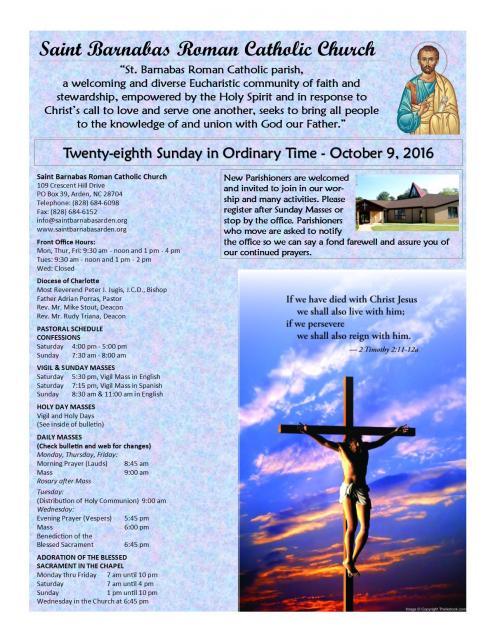 October 9, 2016 | St  Barnabas Catholic Church - 109 Crescent Hill
